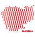 cambodia map - mosaic of valentine hearts vector image vector image
