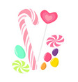 candy collection with sweets heart shaped lollipop vector image