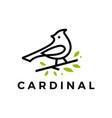cardinal leaf line outline monoline logo icon vector image vector image