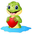 cartoon frog holding a heart vector image