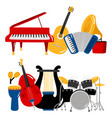 cartoon music instruments vector image vector image