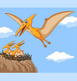 cartoon pterodactyl with her baby vector image vector image