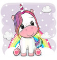 cartoon unicorn is sitting on clouds vector image vector image