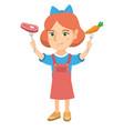 caucasian girl holding fresh carrot and steak vector image vector image