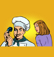 chef on phone a woman client listens vector image vector image