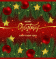 christmas and new year invitation card with gold vector image vector image