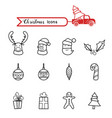 christmas line art icons set christmas drawing vector image vector image