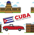 cuban symbols car and architecture cabriolet and vector image