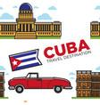 cuban symbols car and architecture cabriolet vector image