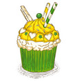 cupcake with waffles vector image
