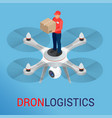 drone logistics network flat vector image
