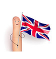 finger with united kingdom flag vector image vector image