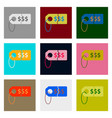 flat assembly icons of sale tag money vector image vector image