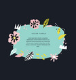 floral hand drawn border template with text space vector image