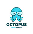 fun little cute smiling happy octopus in glasses vector image