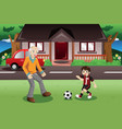 grandpa and grandson playing soccer vector image vector image