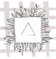 Hand drawn black ink nature frame with leaf vector image vector image