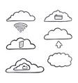 hand drawn computer cloud server vector image
