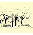 Hand drawn sketch of the city park with trees benc vector image vector image