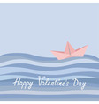 Happy Valentines Day Love card Origami paper boat vector image vector image