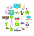 helping animals icons set cartoon style vector image vector image