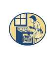 Housewife Baker Baking in Oven Stove Retro vector image
