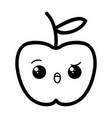 kawaii cartoon apple vector image