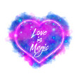 love is magic watercolor magic flaming heart vector image vector image