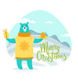 merry christmas greeting card with bear in sweater vector image vector image