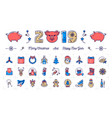 new year icons pig icons and 2019 year number vector image