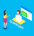 online customer support woman client talking vector image