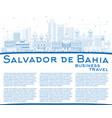 outline salvador de bahia city skyline with blue vector image vector image