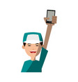 person holding smartphone icon image vector image vector image