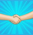pop art retro handshake background vector image