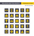 religion and philosphy icons set yellow and grey vector image