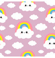 seamless pattern cloud rainbow funny face head vector image vector image