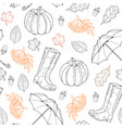 seamless pattern from leaves rubber boots vector image vector image