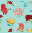 seamless pattern with human organs vector image