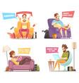 sedentary persons retro cartoon icons vector image vector image