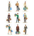 set of isolated men with package during shopping vector image