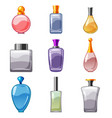 set of perfumed bottles perfume cologne toilet vector image