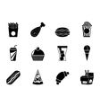 Silhouette fast food and drink icons vector image vector image