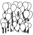 sketch silhouette flying balloons and serpentine vector image vector image