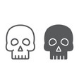 skull line and glyph icon halloween and horror vector image vector image