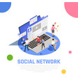 social media isometric composition vector image vector image