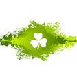 st patricks day clover on green grunge blot vector image vector image