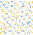 success seamless pattern with thin line icons vector image vector image