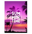 summer tropical background with palms sky and vector image vector image