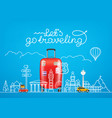 travel concept with famous sights and accessories vector image vector image