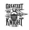 tshirt print with knight head mascot design vector image vector image